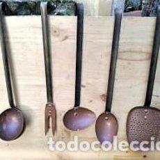 Antigüedades: JUEGO DE CUCHARONES DE COCINA. Lote 195007612