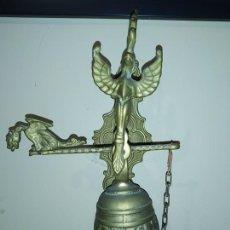 Antigüedades: EXCEPCIONAL CAMPANA BRONCE LLAMADOR, COMPLETA, MUY DETALLADA, CORRECTA, TODA ORIGINAL DECORAR. Lote 195008286