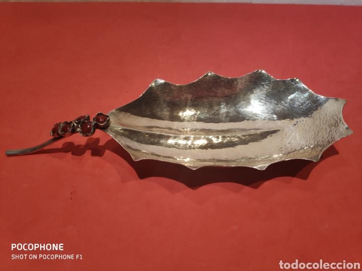 HOJA EN PLATA DE LEY Y CORALINAS DEL PLATERO VILANOVA (Antigüedades - Platería - Plata de Ley Antigua)