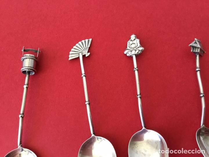 Antigüedades: Antiguo Juego 6 cucharas aperitivo plata de ley - Foto 5 - 195014965