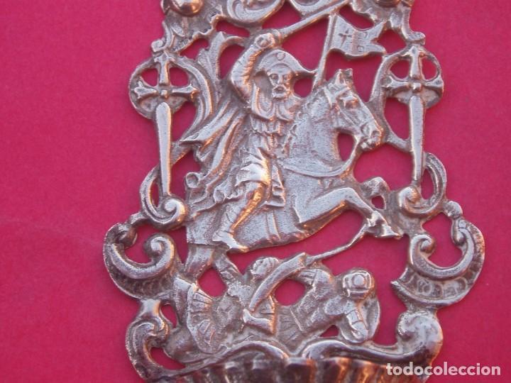Antigüedades: BENDITERA ANTIGUA DE PLATA. APÓSTOL SANTIAGO MATAMOROS. - Foto 2 - 195041955