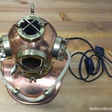 Antigüedades: LAMPARA CABEZA DE BUZO DE LATÓN. Lote 195049773