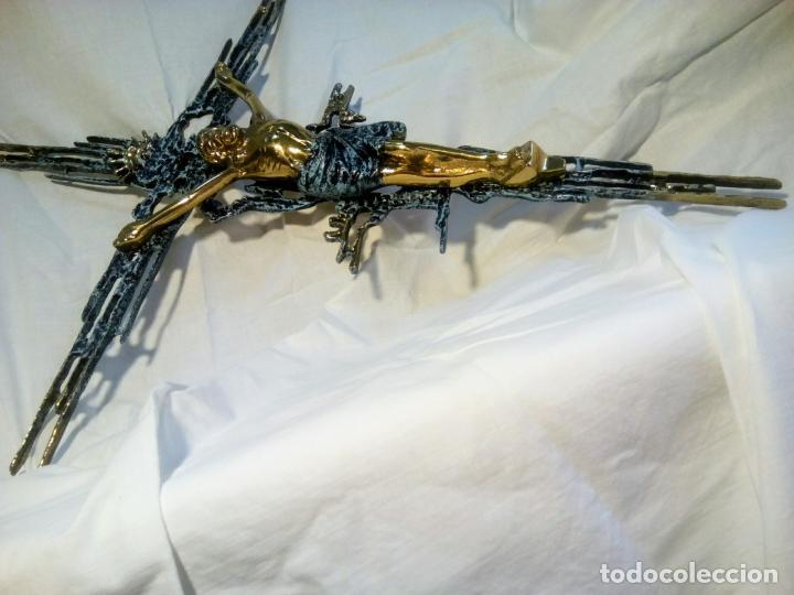 Antigüedades: Crucifijo con Cristo en bronce . Dalí. Surrealismo.67 cm - Foto 11 - 195057860