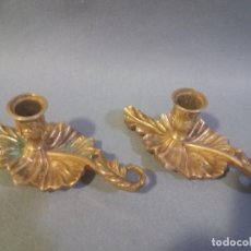Antigüedades: PAREJA DE PRECIOSOS PORTA VELAS . Lote 195058567