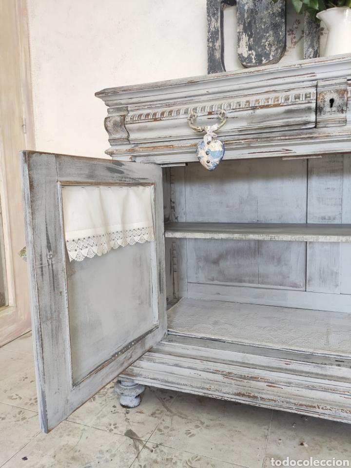 Antigüedades: Aparador Alain restaurado gris decapado - Foto 9 - 195059370