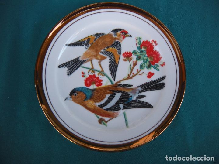PLATO DE PORCELANA CON JILGUEROS (Antigüedades - Porcelanas y Cerámicas - Otras)