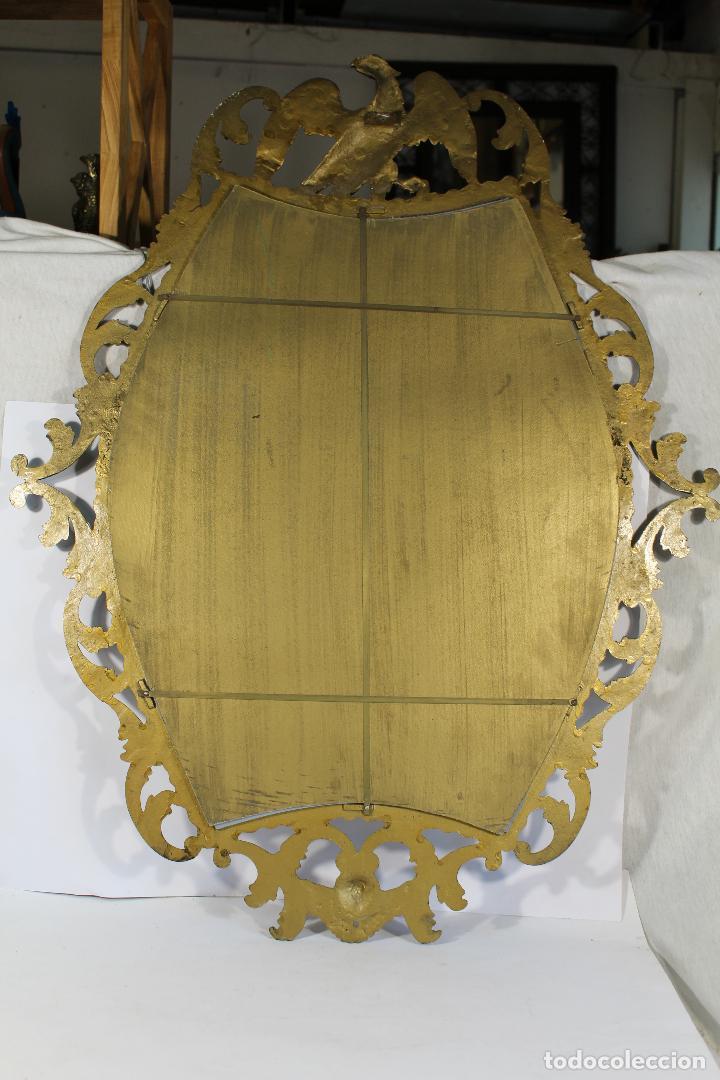 Antigüedades: espejo de bronce con aguila y angel - Foto 2 - 195067782