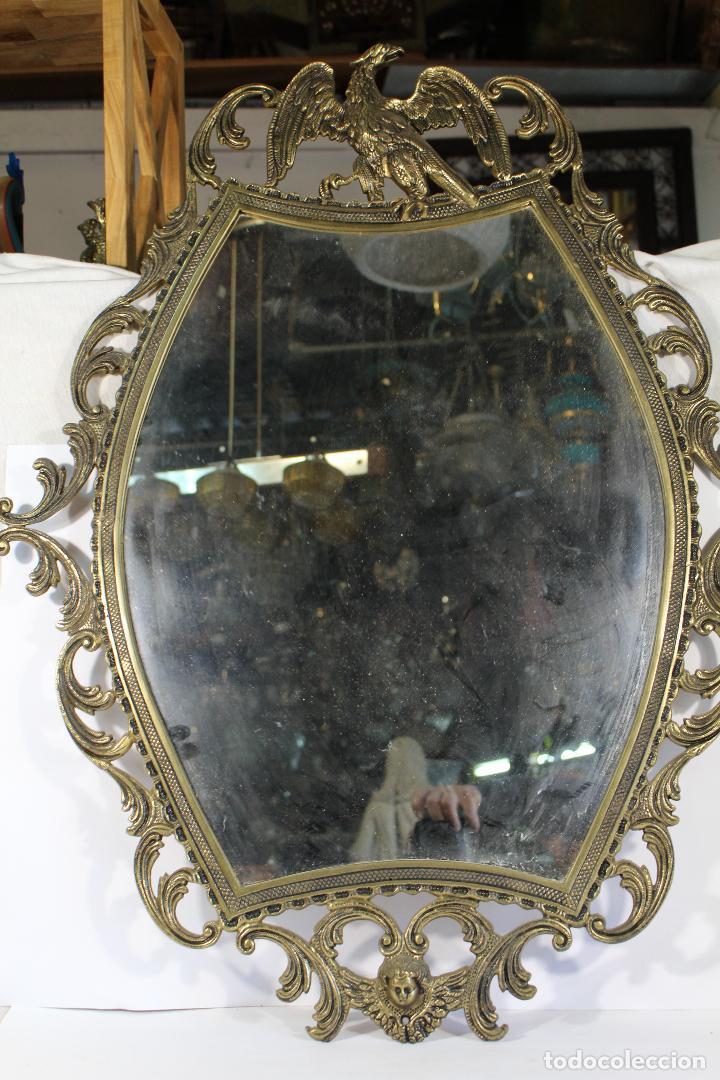 Antigüedades: espejo de bronce con aguila y angel - Foto 5 - 195067782