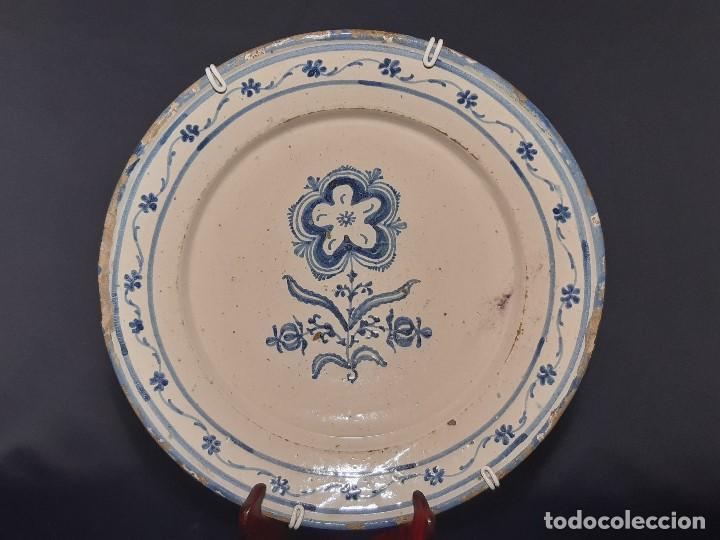 PLATO CERÁMICA. TALAVERA. SERIE ADORMIDERA. SIGLO XVIII. (Antigüedades - Porcelanas y Cerámicas - Talavera)