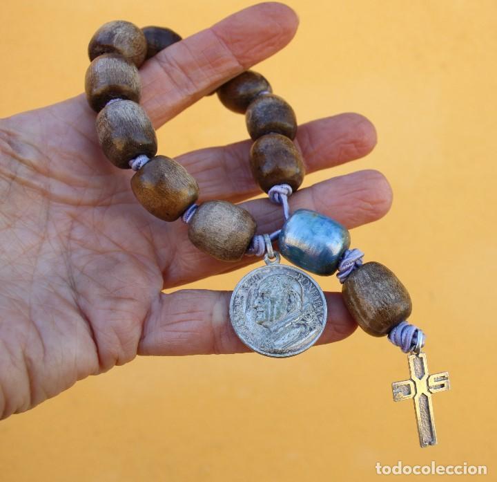 Antigüedades: Rosario con cruz de plata, seda y medalla de Juan XXIII - Foto 5 - 195083095