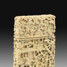 Antigüedades: TARJETERO ORIENTAL. MARFIL. SIGLO XIX.. Lote 195084391