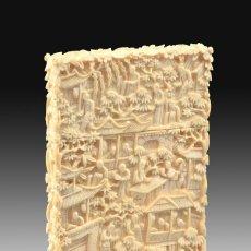 Antigüedades: TARJETERO ORIENTAL. MARFIL. SIGLO XIX.. Lote 195084646