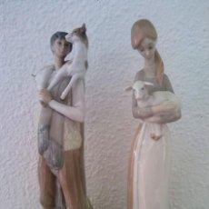 Antigüedades: LOTE FIGURAS PORCELANA PASTORES NAO LLADRÓ. Lote 195088366