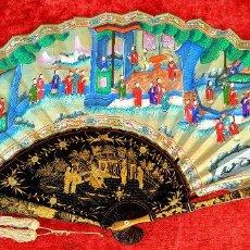 Antigüedades: ABANICO PERICÓN MIL CARAS. MADERA LACADA Y DORADA. PAPEL PINTADO. APLICACIÓN DE HUESO. CHINA. XIX. Lote 195088942