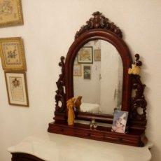 Antigüedades: TOCADOR DE CAOBA CON ESPEJO. Lote 195112497