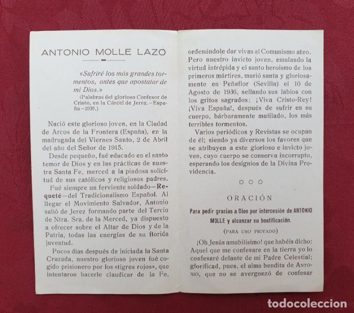Antigüedades: ANTONIO MOLLE LAZO 1915-1936 MUERTO EN DEFENSA DE CRISTO-REY Y DE ESPAÑA CATÓLICA - Foto 2 - 195101892