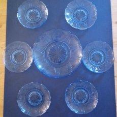 Antigüedades: LOTE DE 7 PLATOS CRISTAL COLOR AZUL - PLATO GRANDE 22 CMS - PLATO PEQUEÑO 14 CMS. Lote 195119703