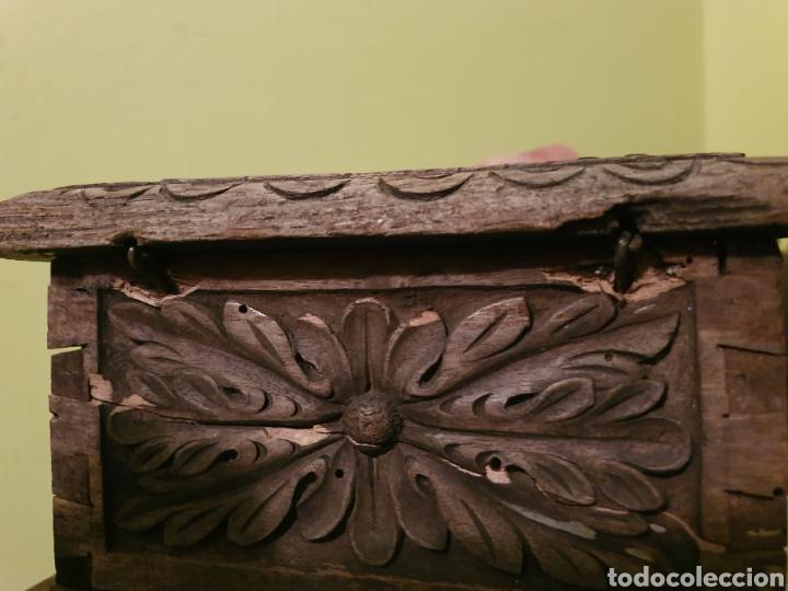 Antigüedades: ARCA COFRE JOYERO PARA RESTAURAR S.XVII - Foto 8 - 195146553