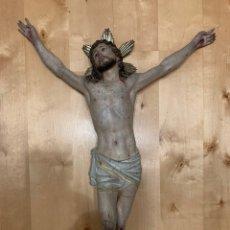Antigüedades: ANTIGUO CRISTO CRUCIFICADO DE GRAN TAMAÑO OLOT. Lote 195151672