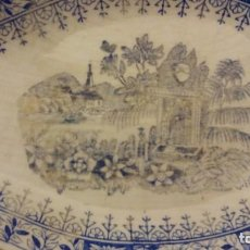 Antigüedades: BANDEJA (23×12) PORCELANA . LA ASTURIANA ( GIJON) MARIANO POLA. MARCA VERDE.. Lote 195154456