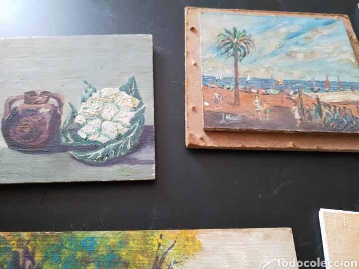 Antigüedades: Lote pinturas óleos miniatura - Foto 2 - 195159243