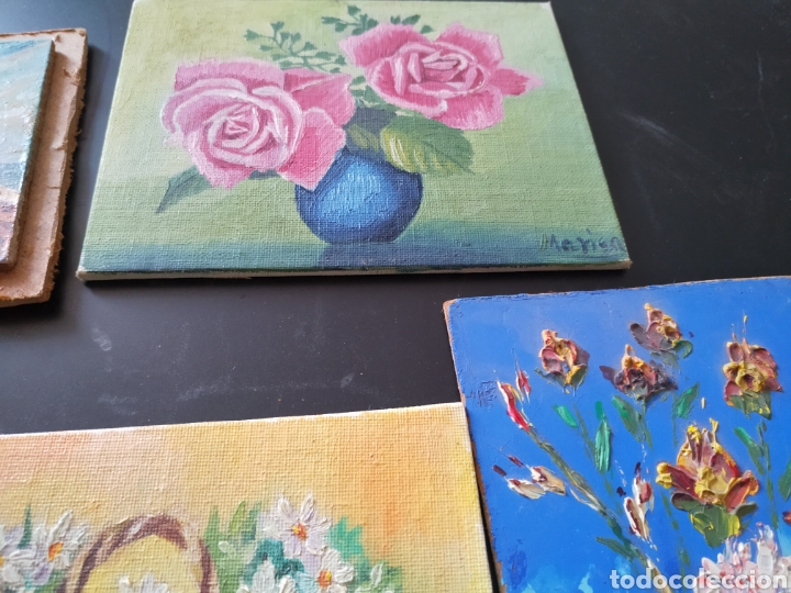 Antigüedades: Lote pinturas óleos miniatura - Foto 3 - 195159243