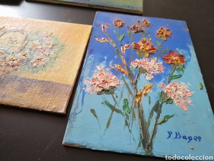 Antigüedades: Lote pinturas óleos miniatura - Foto 4 - 195159243