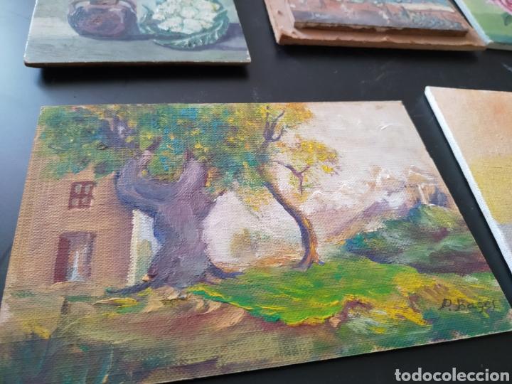 Antigüedades: Lote pinturas óleos miniatura - Foto 5 - 195159243