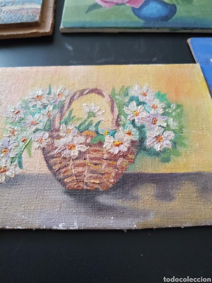 Antigüedades: Lote pinturas óleos miniatura - Foto 7 - 195159243