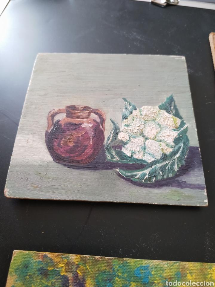 Antigüedades: Lote pinturas óleos miniatura - Foto 8 - 195159243
