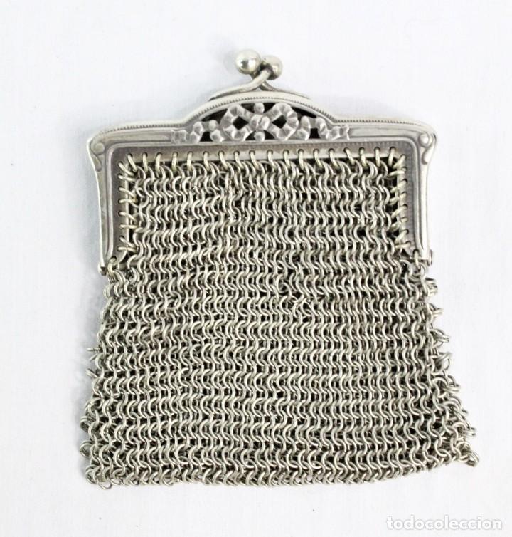 Antigüedades: Monedero de malla en baño de plata s XIX - Foto 2 - 195167261