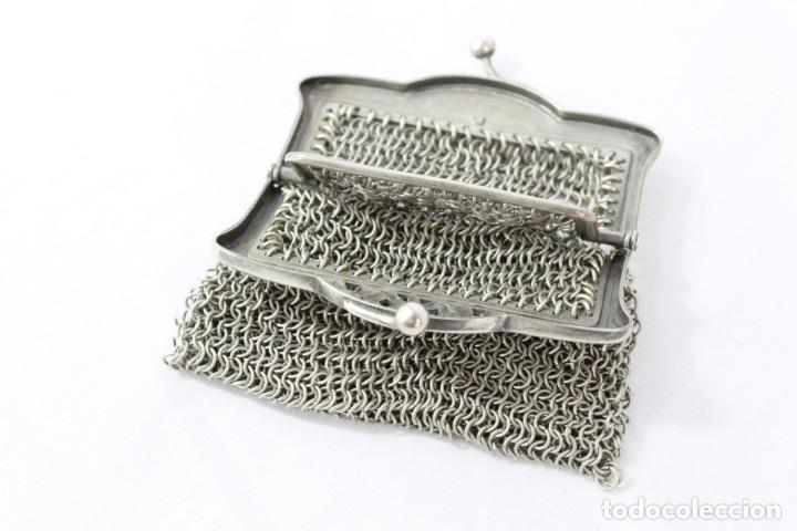 Antigüedades: Monedero de malla en baño de plata s XIX - Foto 3 - 195167261