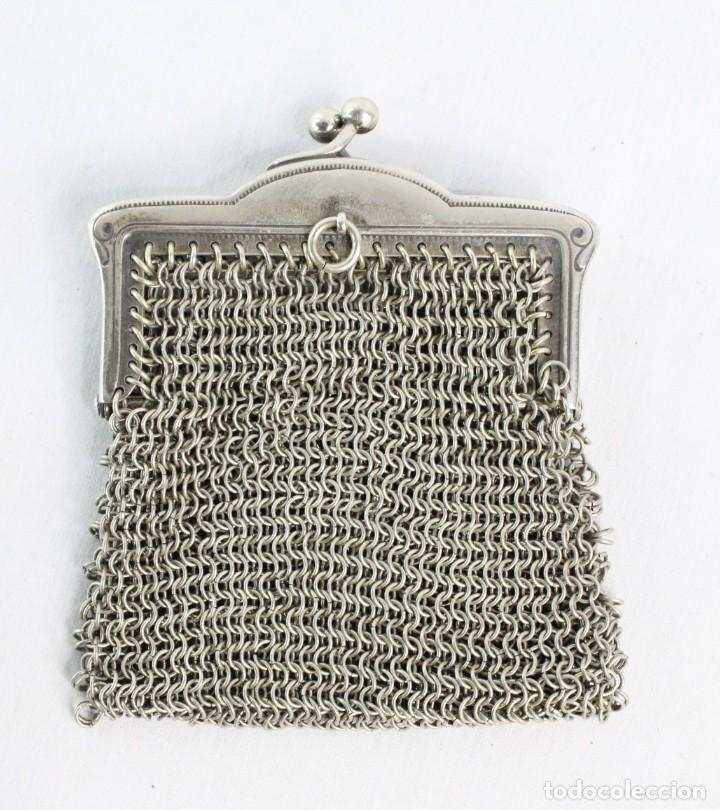 Antigüedades: Monedero de malla en baño de plata s XIX - Foto 4 - 195167261