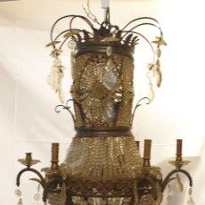 Antigüedades: LÁMPARA DE TECHO ESTILO IMPERIO. CRISTAL Y BRONCE. 12 PUNTOS DE LUZ. SIGLO XIX-XX. Lote 195167541