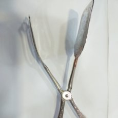 Antigüedades: PINZAS DE SERVIR BAÑADA EN PLATA. Lote 195170410
