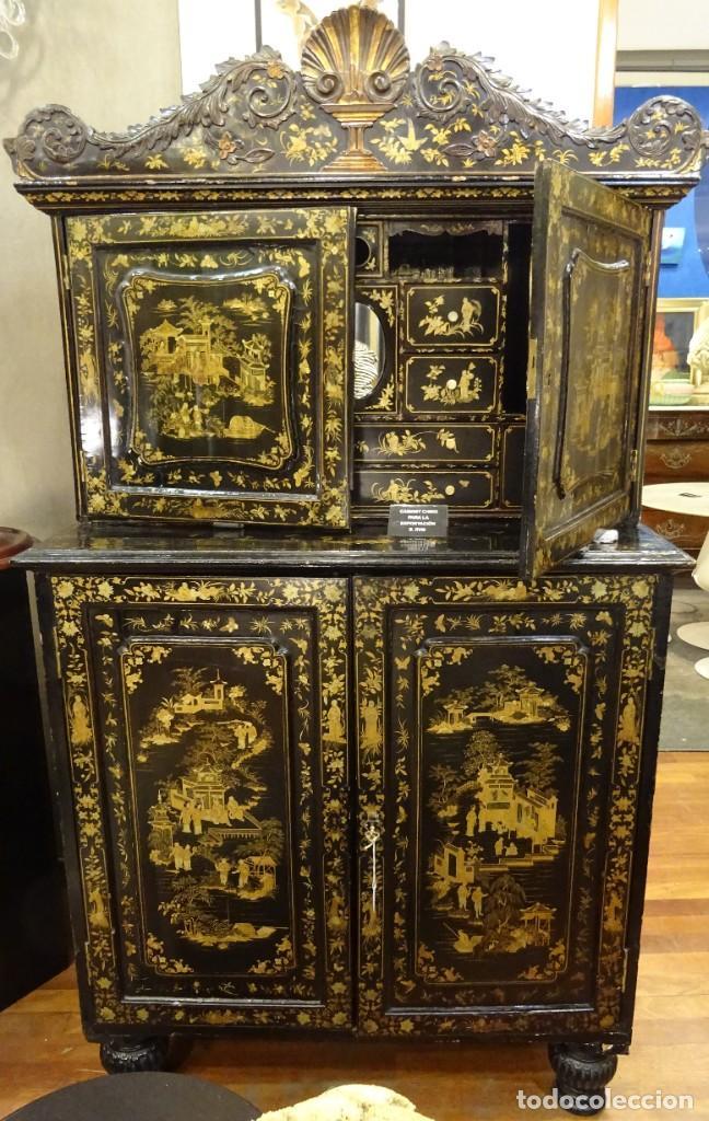 Antigüedades: Cabinet Chino, S.XVIII, lacado y dorado - Foto 68 - 194392393