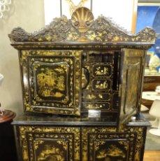 Antigüedades: CABINET CHINO, S.XVIII, LACADO Y DORADO. Lote 194392393