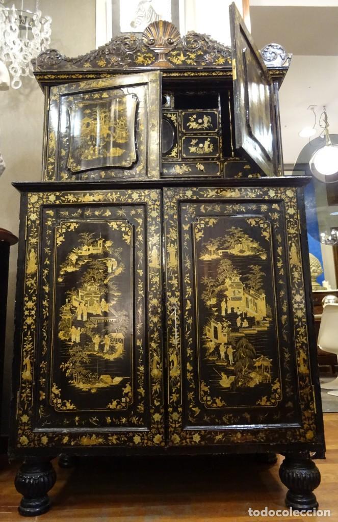 Antigüedades: Cabinet Chino, S.XVIII, lacado y dorado - Foto 2 - 194392393