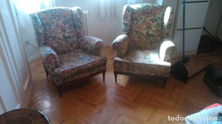 Antigüedades: 2 sillones orejeros antiguos de 1960 - Foto 3 - 195176450