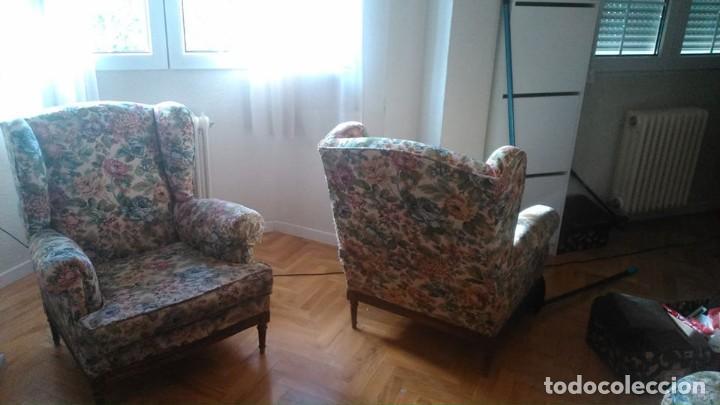 Antigüedades: 2 sillones orejeros antiguos de 1960 - Foto 5 - 195176450