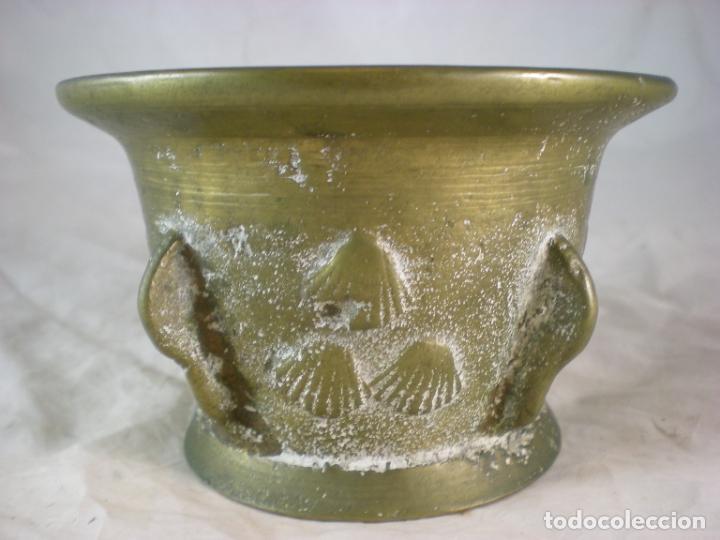 Antigüedades: Almirez Bronce - Galicia Siglo XVIII - 4 Costillas - Conchas Vieira - Foto 4 - 195177056