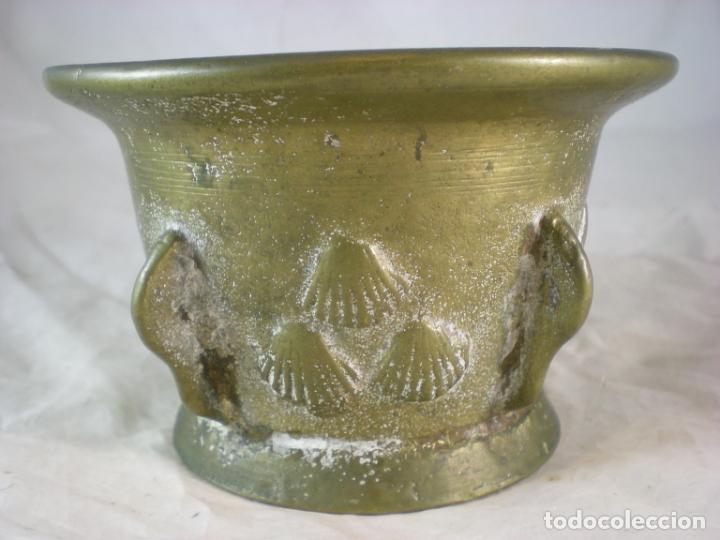 Antigüedades: Almirez Bronce - Galicia Siglo XVIII - 4 Costillas - Conchas Vieira - Foto 5 - 195177056