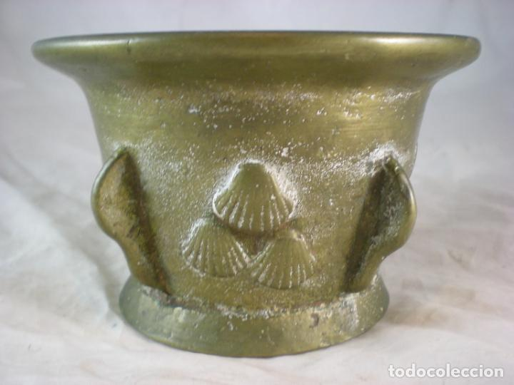 Antigüedades: Almirez Bronce - Galicia Siglo XVIII - 4 Costillas - Conchas Vieira - Foto 6 - 195177056