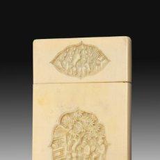 Antigüedades: TARJETERO ORIENTAL. MARFIL. SIGLO XIX.. Lote 195177233