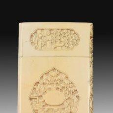 Antigüedades: TARJETERO ORIENTAL. MARFIL. SIGLO XIX.. Lote 195177553
