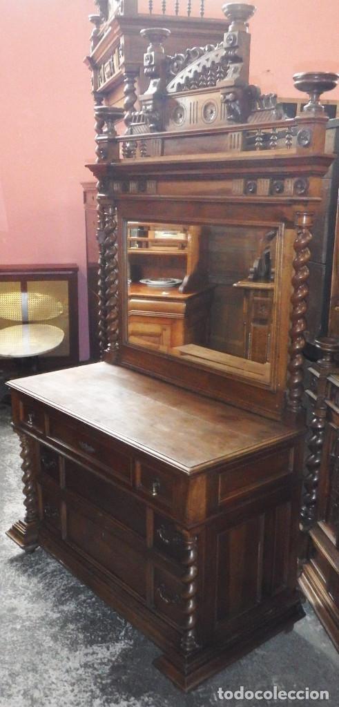 CÓMODA CON ESPEJO NOGAL (Antigüedades - Muebles - Cómodas Antiguas)