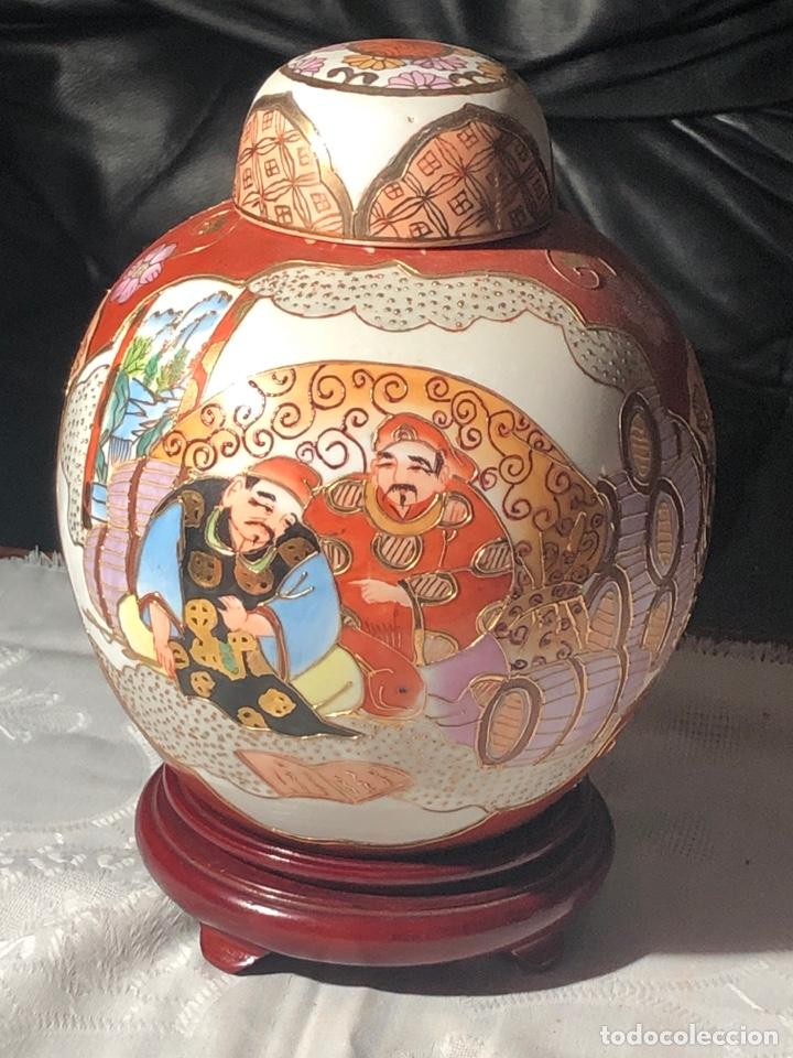 ANTIGUO TIBOR CHINO PINTADO Y ADORNADO A MANO (Antigüedades - Porcelanas y Cerámicas - China)