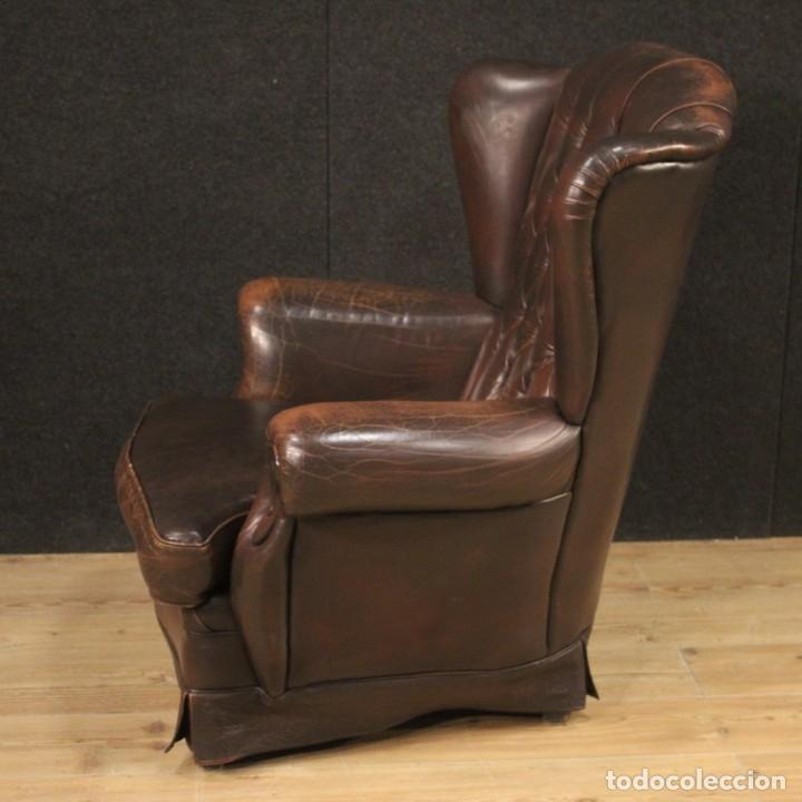 Antigüedades: Sillón inglés en cuero marrón - Foto 3 - 195192707