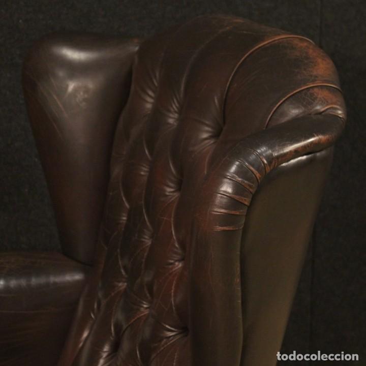 Antigüedades: Sillón inglés en cuero marrón - Foto 4 - 195192707