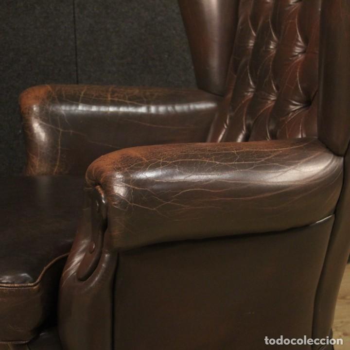 Antigüedades: Sillón inglés en cuero marrón - Foto 5 - 195192707